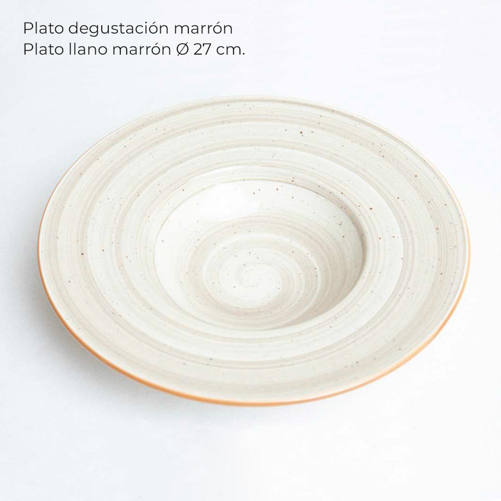 Plato-llano-Plato-degustacion-marron