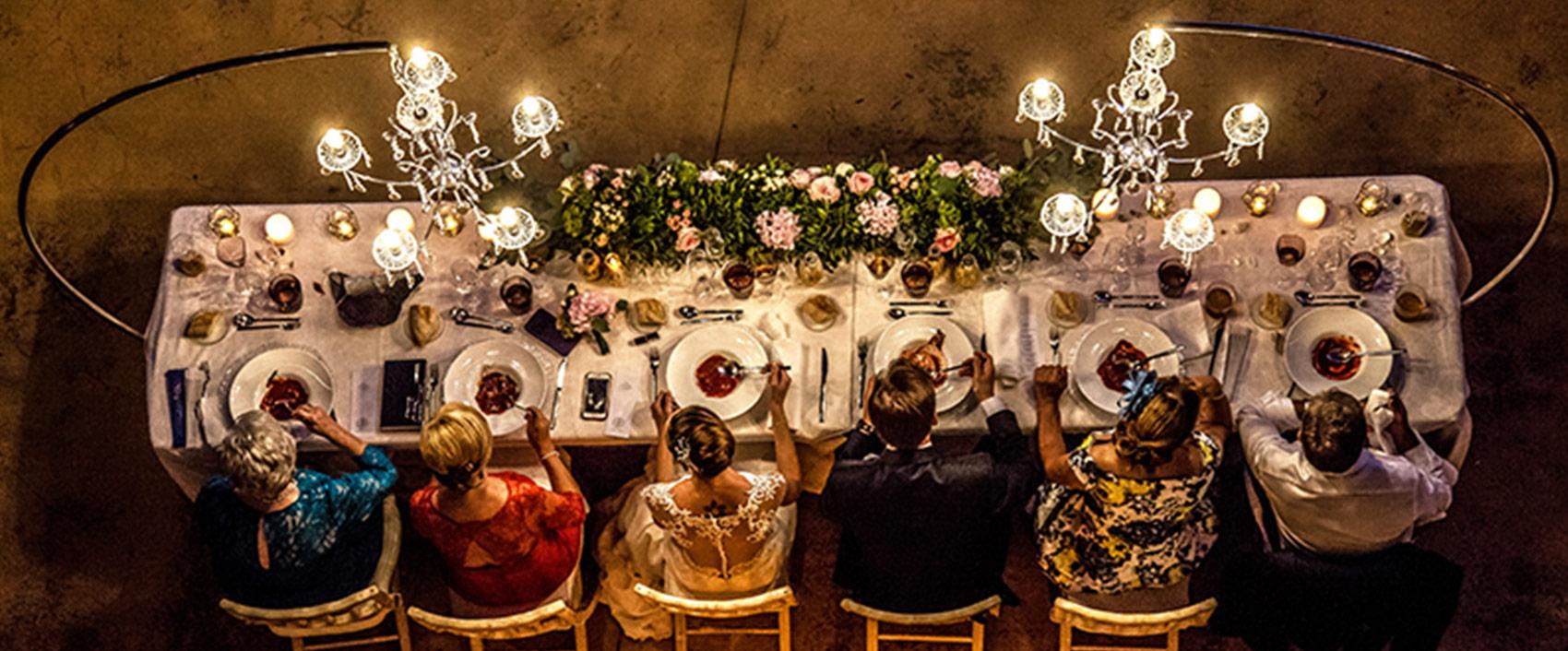 Mesa de boda vista superior